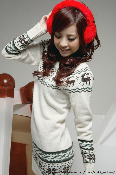 Round Collar Long Knitting Sweater White.